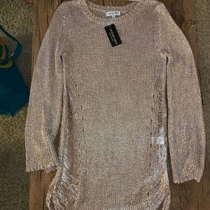 Rose Gold Knitted Shiny Coverup